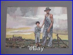 Old Wpa Style American Regionalism Painting Farm Farmers Crops 1940's Vintage
