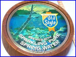 Old style beer sign vintage lighted waterfall 1983 barrel head topper keg MC8