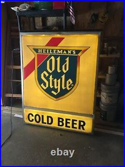 One Sided Old Style Sign / Cold Beer Vintage Outdoor Tavern Large Light Up