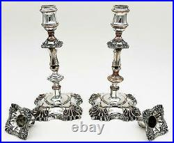 PAIR WILLIAM IV OLD SHEFFIELD PLATE CANDLESTICKS c1835 9 Inches Mid-18thC Style