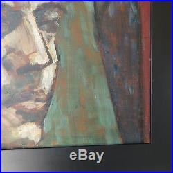 Painting Old Vintage MID Century Modern Portrait Ashcan Wpa Style Expressionism