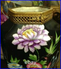 Pair Antique 19th Century Old Paris Porcelain Small Oriental Style Vases