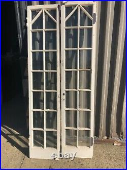 Pair vintage French doors unique mission Tudor style 75.5 x 16 x 1.5 old glass