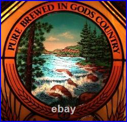 RARE Vintage Old Style Beer North Woods River Waterfall Motion Bar Light Sign