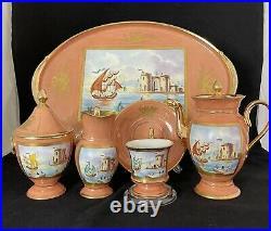 Rare Antique Old Paris / Sevres Style Porcelain (Harbor Seen)Tea set