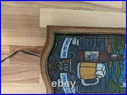 Rare Heilemans Old Style Beer Draft Lighted Sign Faux Stained Glass Vintage