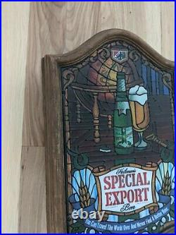 Rare Heilemans Special Export Beer Sign Faux Stained Glass Vintage Old Style