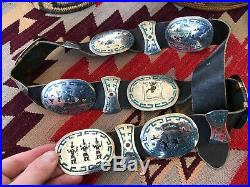 Rare Old Inlaid Storyteller Vintage Singer Style Sterling Silver Concho Belt