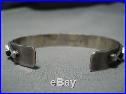 Rare Vintage Navajo Dishta Style Coral Inlay Sterling Silver Bracelet Old