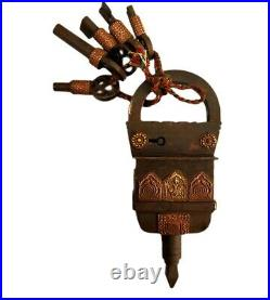 Rare Vintage Old Antique Style Square Brass Work Iron Puzzle Padlock with 5 Keys