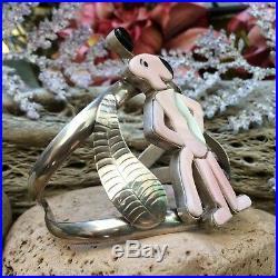 Rare Vintage Pink Panther Sterling Cuff Bracelet Zuni Old Pawn Southwest Style