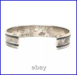 STERLING Silver Southwestern Style Solid Design Old MENS Cuff Bracelet Vintage