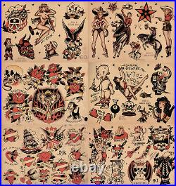 Sailor Jerry Traditional Vintage Style Tattoo Flash 48 Sheets 11x14 Old School