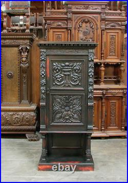 Small Narrow Italian Style Old World Carved Linen Cabinet Cupboard Case