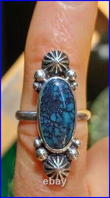 Spiderweb Turquoise Ring Old Pawn Vintage Style Silver. 925 Size 6