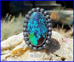 Spiderweb Turquoise Ring Old Pawn Vintage Style Silver. 925 Size 6.5