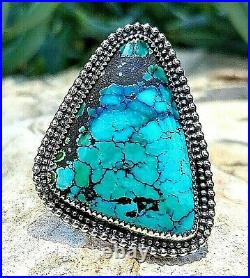 Spiderweb Turquoise Ring Old Pawn Vintage Style Silver. 925 Size 7