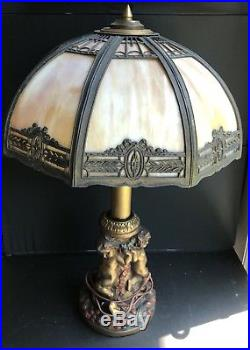 Old Antique Tiffany Style Table Lamp 24