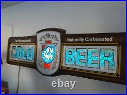 VTG 1977 Old Style Cold Beer Bubbler Sparkling Motion Lighted Bar Sign
