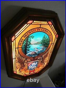 VTG 1982 Old Style Beer Waterfall River Rapids Motion Bar Light Sign Works Video