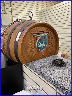 VTG OLD STYLE BEER BARREL POOL TABLE Hanging Bar Light Pub Sign