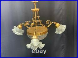 Very nice large old vintage antique style crystal chandelier 5 lamp