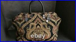 Victorian Old West Style Carpet Bag Leather Handles Drs Travel Satchel Purse New