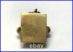Vintage 14k Yellow Gold Old Rotary Phone Charm House Phone Antique Style