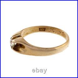 Vintage 1900 Mens Old Mine Cut Diamond Ring 14k Yellow Gold Belcher Style