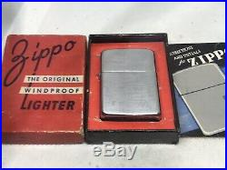 Vintage 1947 Chromed Nickel Silver 3 Barrel Zippo Lighter- Old Style Cam Unfired