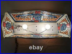 Vintage 1980's OLD STYLE Beer Light Pool Table Ceiling Faux Stained Glass Look