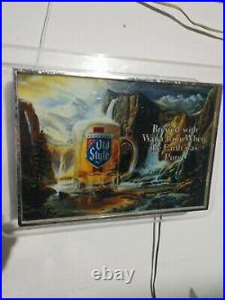 Vintage 1980's Old Style Waterfalls Beer Bar Sign Edgelight 18 x 13