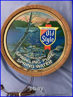 Vintage 1983 Old style beer sign lighted waterfall barrel head topper keg MC8
