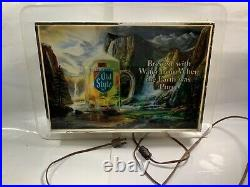 Vintage 1986 OLD STYLE BEER WATERFALL MOTION BAR LIGHTED SIGN HEILEMANS