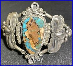 Vintage 54 Gram Navajo Sterling & Turquoise cuff style bracelet, Old! A Must See