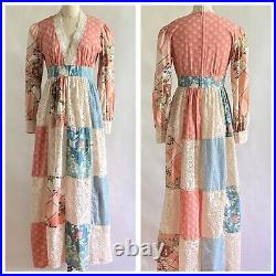 Vintage 70s Jonathan Martin Patchwork Maxi Dress /Gunne Style/ New Old Stock