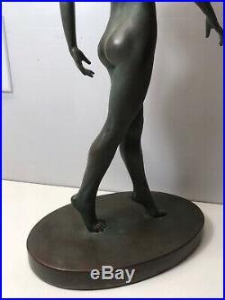 Vintage ART DECO Style NUDE LADY STATUE Old VIRGINIA MORRIS POLLAK Alva Museum