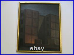 Vintage Antique Wpa Style Night Old Buildings City Roof Tops Modernism Mystery