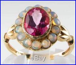 Vintage Art Deco 9k Gold Pink Topaz Australian Opal Cluster Old Style Ring