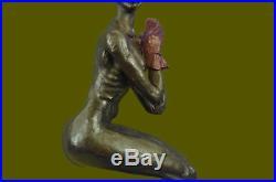 Vintage Art Deco Style Harlequin Jester Old Bronze Sculpture Statue Figure Sale