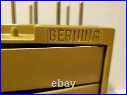 Vintage BERNINA Green Sewing Kit Case &10 Old Style Presser Feet / Attachment