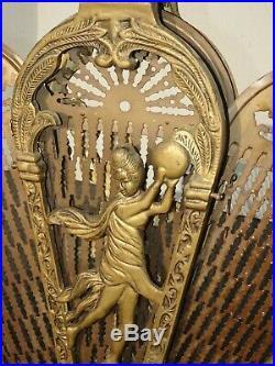 Vintage Brass Old Peacock Style Fan Fireplace Screen w Woman Motif