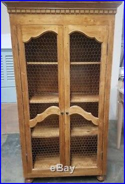 Vintage French Country Cabinet Vintage European Old World Chicken Wire Style