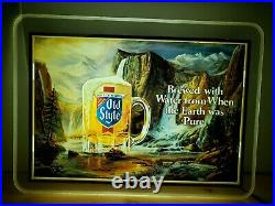 Vintage Heileman Old Style Beer Lighted Waterfall Wall Sign 1986 18 X 13