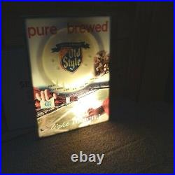 Vintage Heileman's Old Style Beer Illuminated Waterfall, Scroll/Motion Sign
