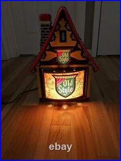Vintage Heileman's Old Style Beer Lighted Motion Sign Chalet House