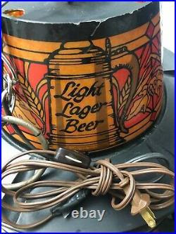 Vintage Heilemans Old Style Beer Lighted Rotating/Motion Hanging Bar Lamp