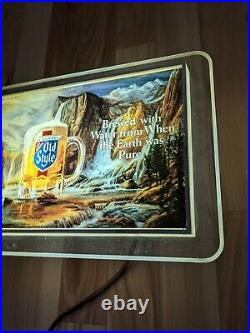 Vintage Heilemans Old Style Beer Waterfall Bar Light Sign Non Motion