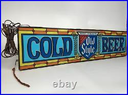 Vintage Heilemans Old Style Lighted Cold Beer Hanging Sign Stained Glass Rare