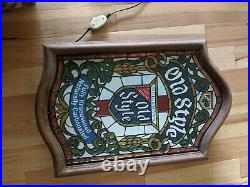 Vintage Large Old Style Beer Lighted Sign Faux Stained Glass C